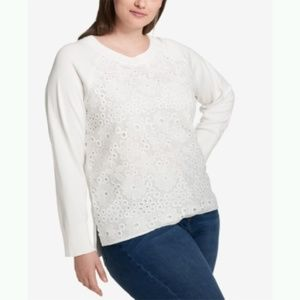 Tommy Hilfiger Crochet Lace Pullover Sweater